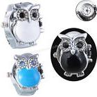 Fashion Round Retro Owl Finger Clamshell Ring Watch Women el