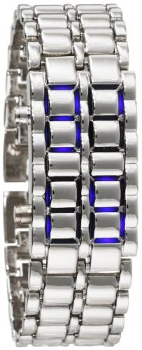Silver Metal Band Mens Iron Samurai Style Lava Digital Sport