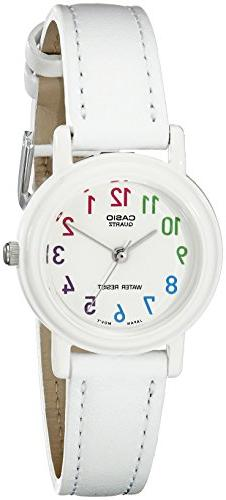 Casio Women's Stainless Steel Analog Watch, White Leather St