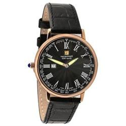 Steinhausen Men's Swiss Quartz Rose Gold Tone S. Steel Black