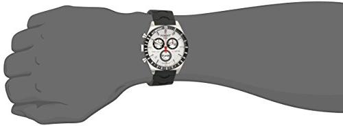 Tissot T0444172703100 516 Silver-Tone Chronograph Dial Watch Black Band