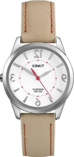 Timex Women's T2N861 Weekender Beige with Coral Stitching Le