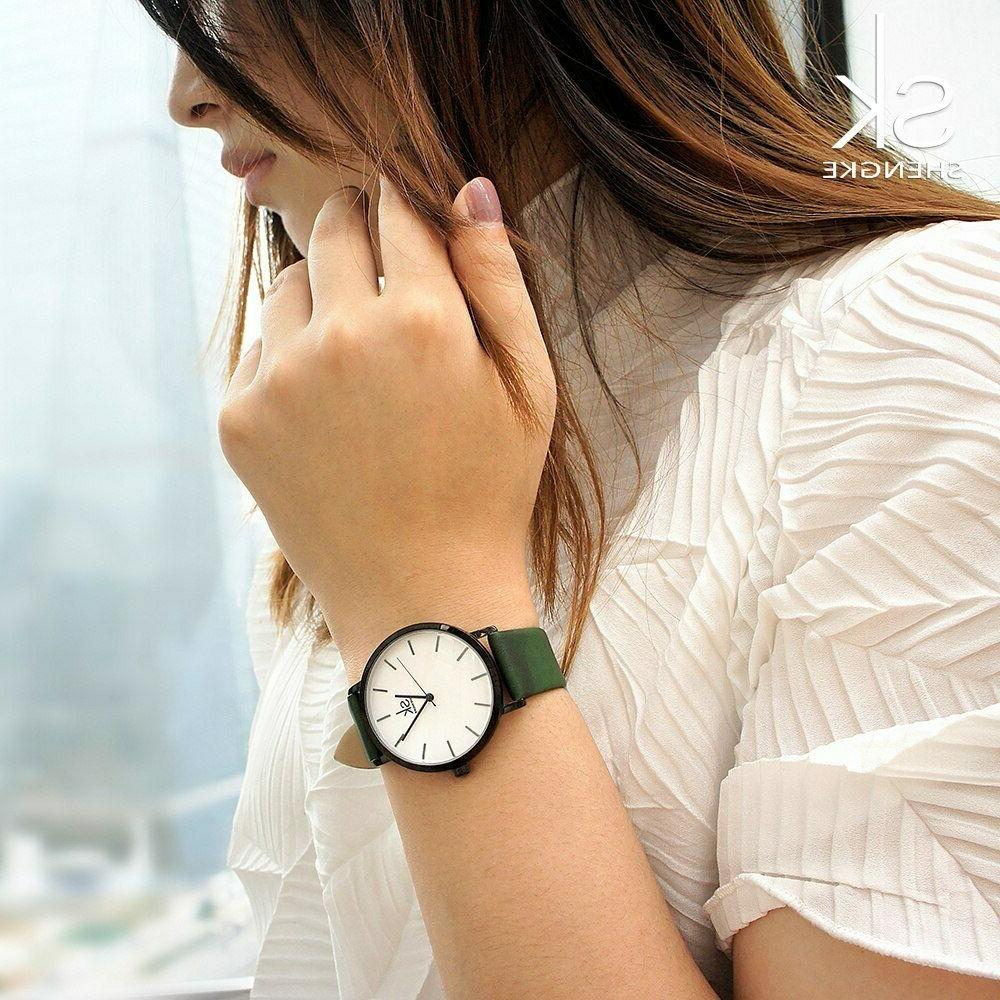 Top Brand Casual Leather Band Analog