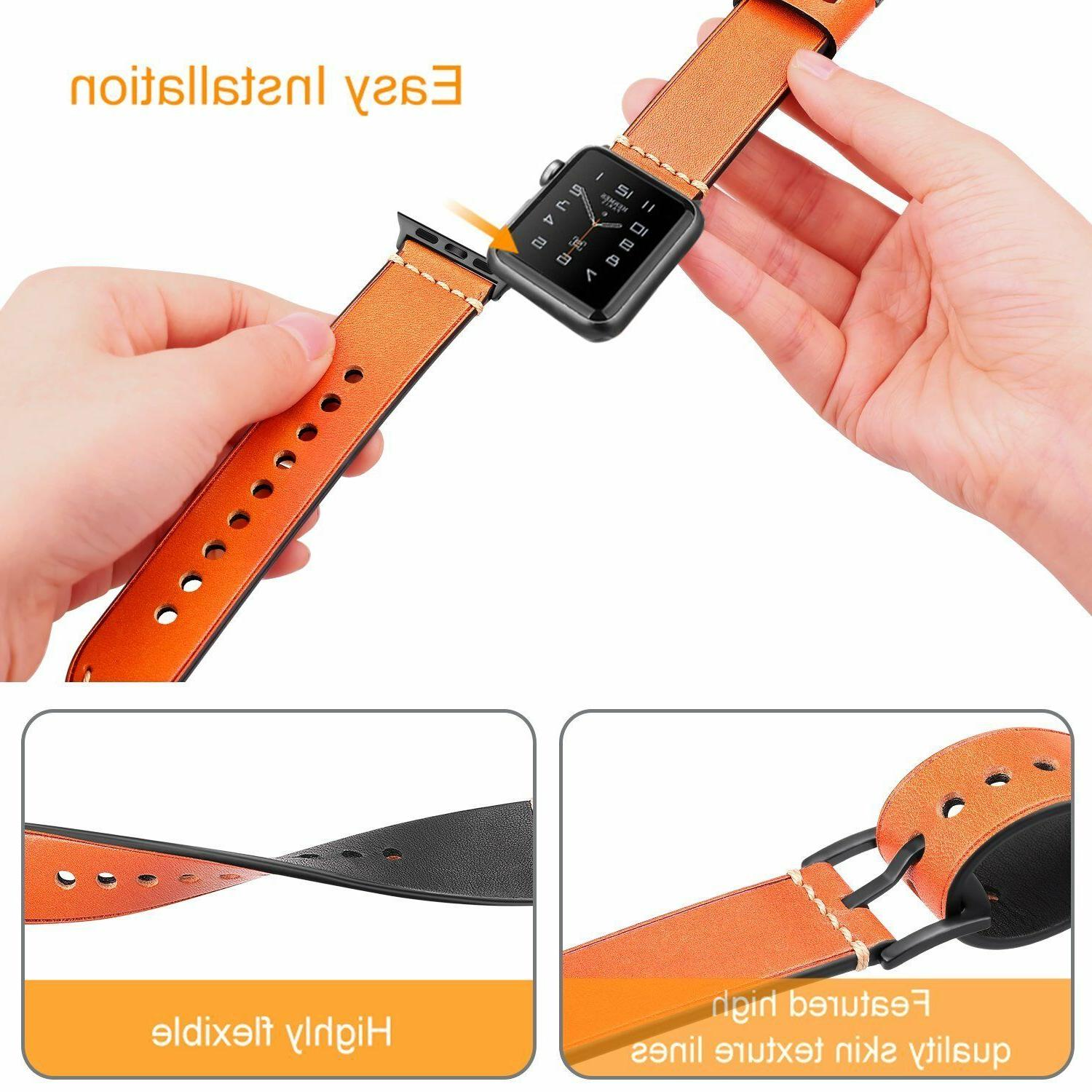 For Apple Band 38mm Series 3 Series 2 Series 1 Leather Wrist