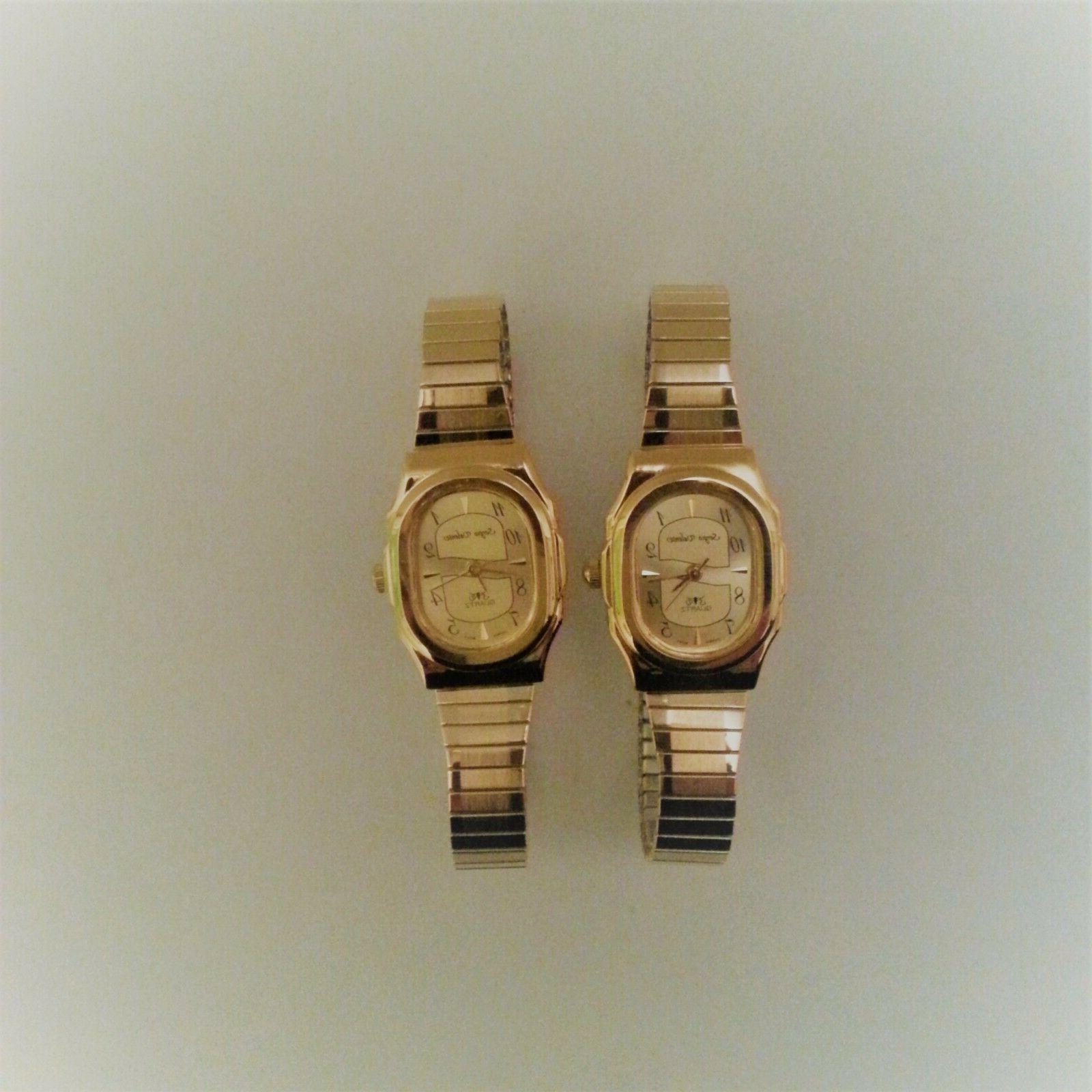 Quartz Watch  Stretch Band Stainless Steal Gold  Easy Read N