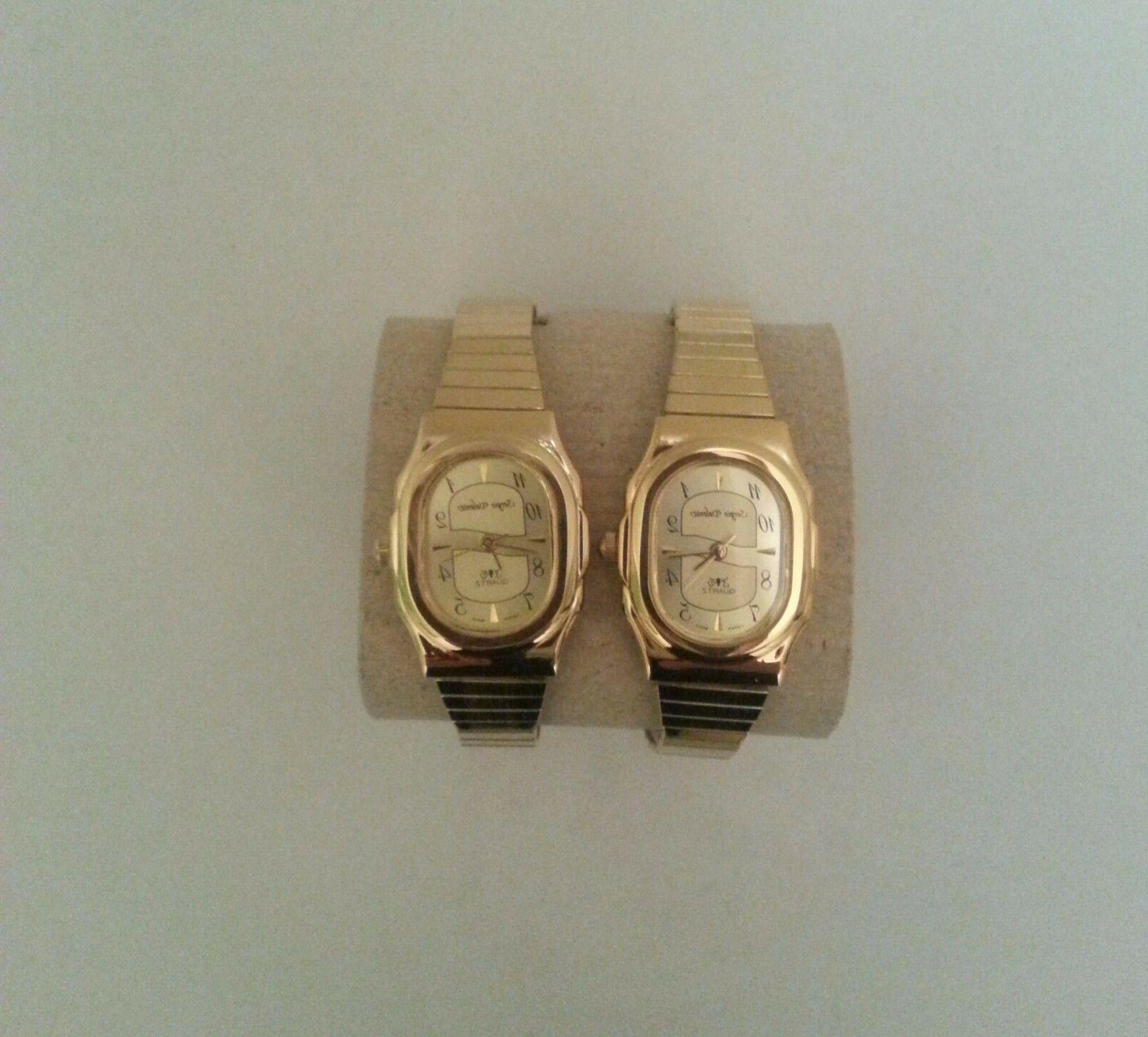 Quartz Watch Stretch Stainless Gold Read Numbers Oval/ 1 pc