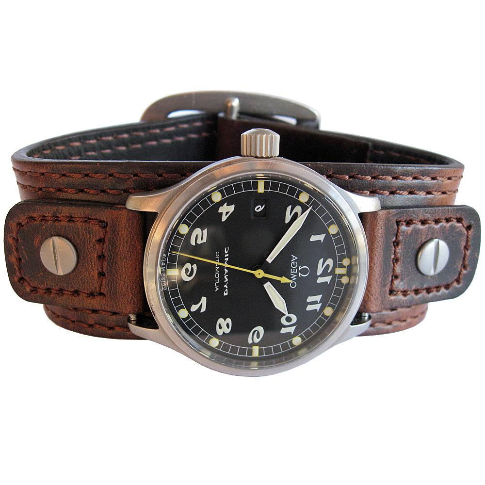 18mm 20mm Hadley-Roma Wide Brown Leather Riveted Military Cu