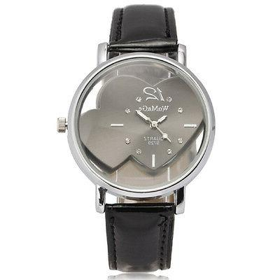 Womens Leather Band Heart Face Analog