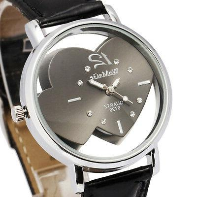 womens watches faux leather band heart face