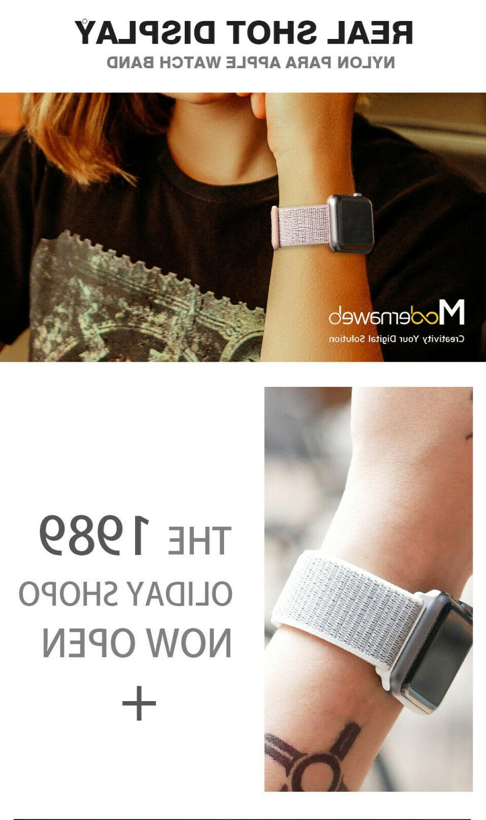 Woven Nylon Band For Apple 38/42/40/44mm Loop 4/3/2/1