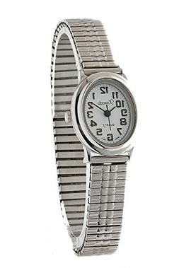 Ladies Classic Dainty Oval Case Silver Tone Stretch Band Wat