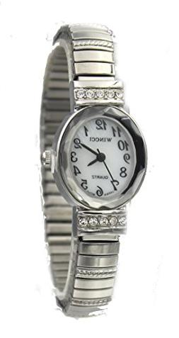Ladies Silver Tone Dainty Stretch Band Oval Case Watch with
