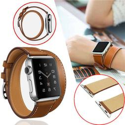 Leather Watch Band Double Tour Bracelet Strap For Apple watc