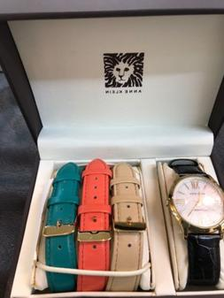 ANNE KLEIN LEATHER WATCH SET WITH 4 BANDS, SALMON, BEIGE, BL