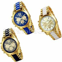 Luxury Men's Gold Tone Stainless Steel Band Watches Analog Q