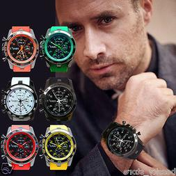 Luxury Unisex Men Sport Watch Silicone Band Casual Analog Qu
