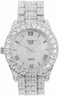 Men Iced Watch Bling Rapper Simulate Diamond Lab Stone Metal