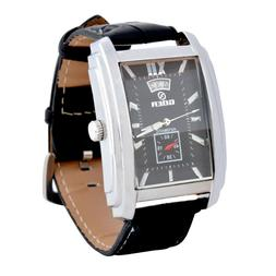 Men Rectangle Watches Leather Band Automatic Mechanical Watc
