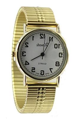 Men's Easy Reader Gold Tone Stretch Band Watch