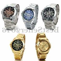 Men's Fashion Luxury Watch Stainless Steel Band Sport Analog