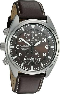 Seiko Men's SNN241 Stainless Steel Watch with Brown Leather