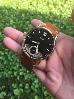 Men's Fossil The Commuter Twist Brown Leather Band Watch ME1