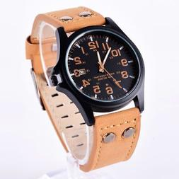 men sport watches army military leather band