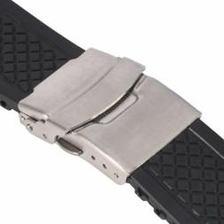 Mens Deployment Clasp Watch Band Strap Waterproof Silicone W