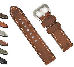 Mens Genuine Leather Watch Band Strap 20 22 24mm Brown Black