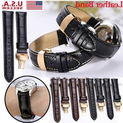 Mens Genuine Leather Watch Strap Band Buckle Clasp 16mm 18mm