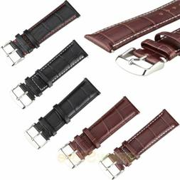 Mens Genuine Leather Watch Strap Band Croco RM S.Steel Buckl