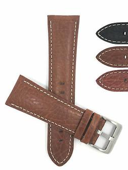 mens italian leather watch band strap padded