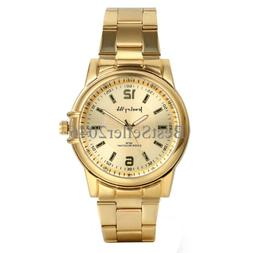 Mens Luxury Analog Quartz Gold Watch Business Stainless Stee