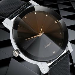Mens Quartz Watches Sport Military Stainless Steel Dial Leat