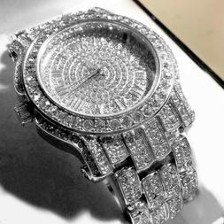 MENS SILVER CAPTAIN BLING ICE AVENTURA Pave Crystal WATCH WI