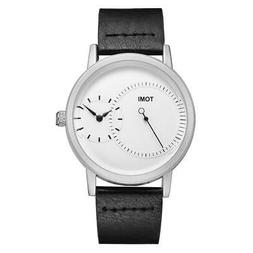 TOMI Mens Watches Stainless Steel Dial Leather Strap Band Qu