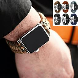 Mens Weave Rugged Durable Strap Watch Band For iWatch Apple