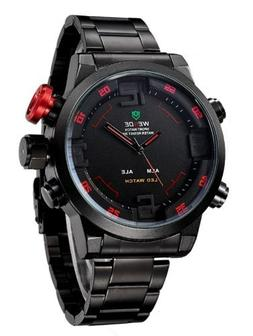WEIDE Men Military Watch 3ATM LED Digital Analog Dual Time N