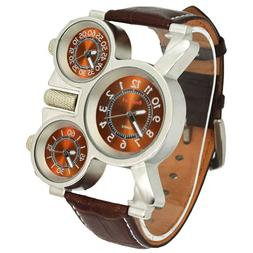 Oulm Military Watches with Three Movt Design and Leather Ban