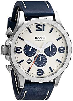 Fossil Nate Chronograph Navy Leather Watch Jr1480