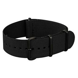 INFANTRY 20mm Nato Nylon Canvas Fabric Black Watch Band Repl