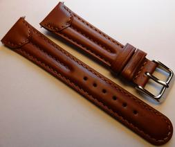 New Mens Brown Double Padded Oiled Leather 20mm Watch Band S