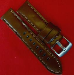 New Mens Brown Saddle Polished Shiny Leather 22mm Watch Band