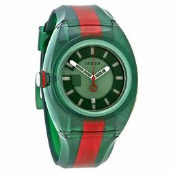 New Gucci Sync XXL YA137113 Two-Tone Rubber Band Green Dial