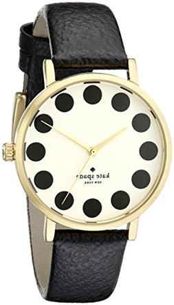 kate spade new york Watch, Women's Metro Black Leather Strap