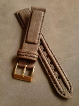NOS Band-It 18R Brown Padded Double Stitched Calfskin Chrono