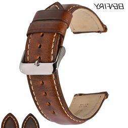 BEAFIRY Oil Tanned Leather 22mm 20mm 18mm Watchband Quick Re