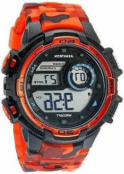 Armitron Men's Orange Camo Resin Watch, 100 Meter WR, Chrono