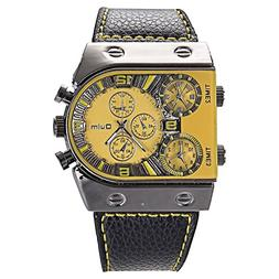 OULM Mens Oversize 3 Time Zone Military Sport Leather Quartz