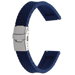 TRUMiRR 18mm Quick Release Silicone Rubber Watch Band Sports